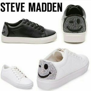 Steve Madden Smiley Wink Black Sneakers 8.5